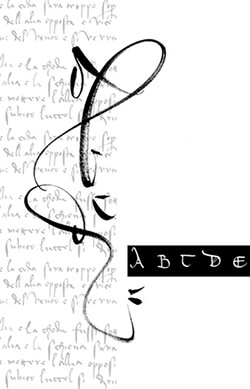 Massimo Polello's mordern interpretation on the Calligraphic style of Leonardo Da Vinci's cursive writing
