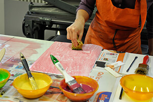 Making paste paper one of the techniques taught on the TEC Bookbinding and Decorative Papermaking course